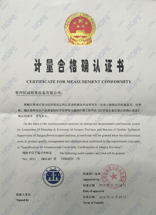 China SMARTWEIGH INSTRUMENT CO.,LTD Certification